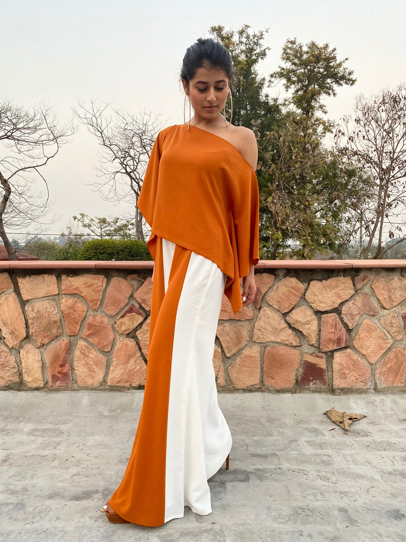 Off Shoulder Top with a Bell Bottom Feel Pant