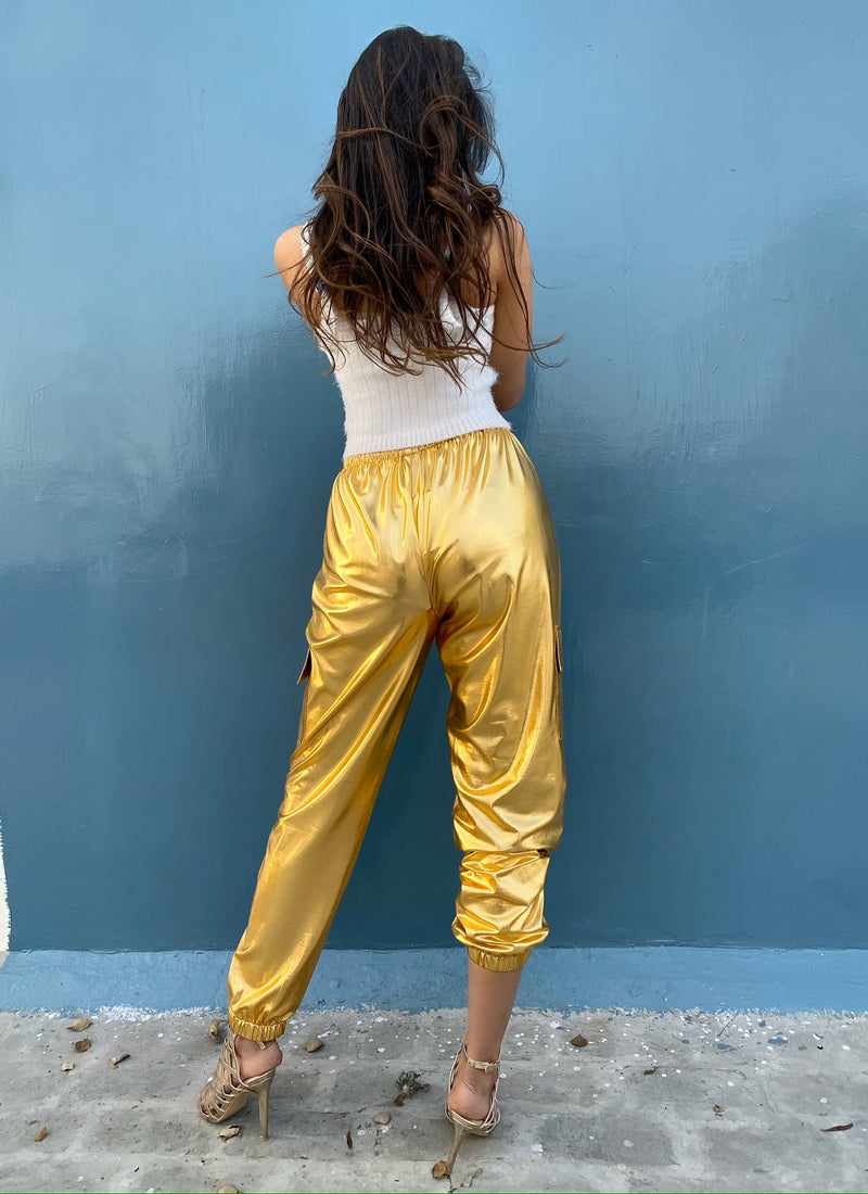 Metallic Cargo Pants
