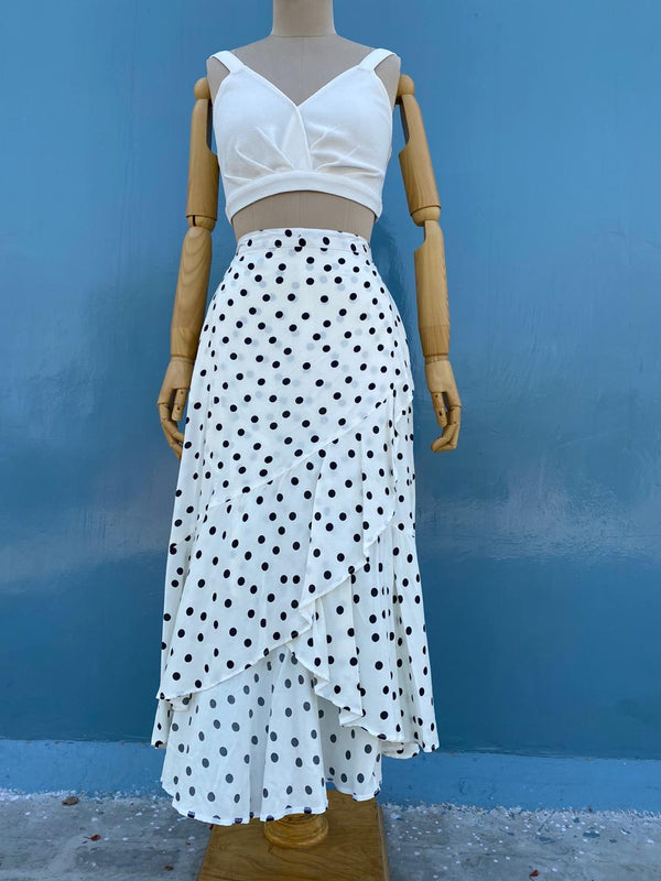 Black on White Polka Skirt