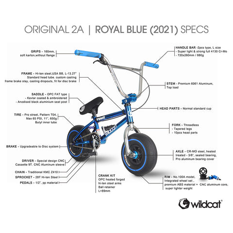 Wildcat Mini BMX Original 2A Royal Blue 2021 Cross Wheel Set