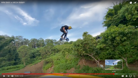 Ryan Williams jumps a Wildcat Mini BMX on the Mega Ramp