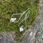 Pentagonal Drop Earrings Handmade with Sterling Silver and Herkimer Diamond