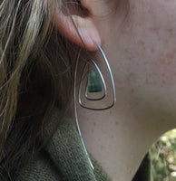 Spiral Triangle Earrings with Healing Stone Green Fluorite & Sterling Silver Handmade