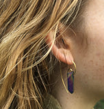Fibonacci Spiral Earrings with Sterling Silver & Cobalt Titanium Quartz Crystal Points