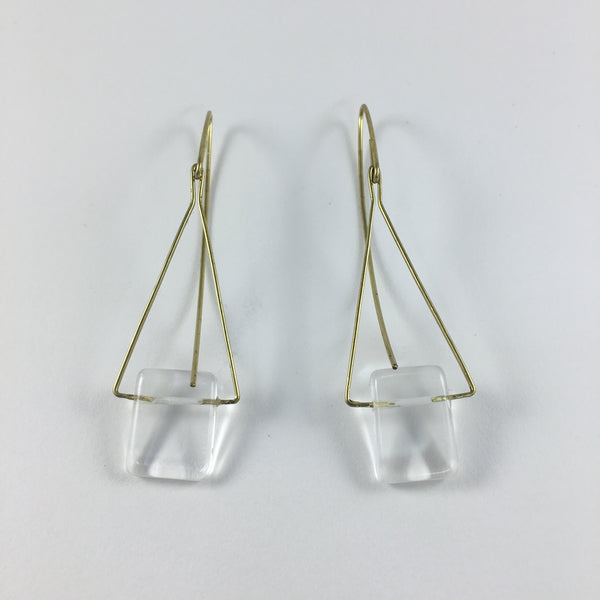 Triangle Drop Earrings with Clear Quartz & Brass, Handmade