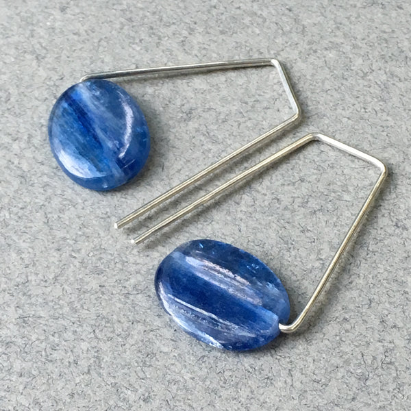 Geometric Earrings with Sterling Silver & Blue Kyanite, Handmade