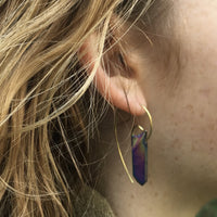 Fibonacci Spiral Earrings with Sterling Silver & Rainbow Aura Quartz Crystal Points