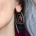 Spiral Triangle Earrings with Sterling Silver & Healing Stone Red Jasper Handmade