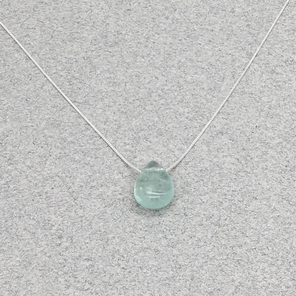Natural Fluorite Teardrop Necklace with Sterling Silver Chain
