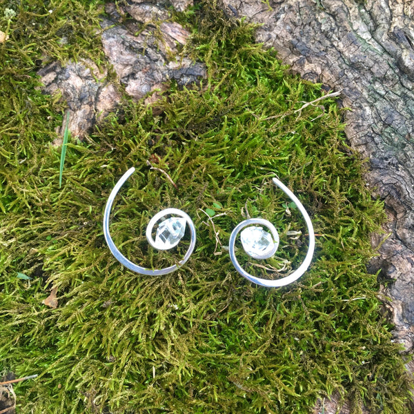 Herkimer Diamond Spiral Wraparound Earrings Handmade with Sterling Silver