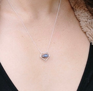 Petite Pentagram Power Pendant Necklace with Sterling Silver and Labradorite