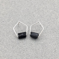 Pentagonal Post Earrings with Sterling Silver and Raw Black Tourmaline