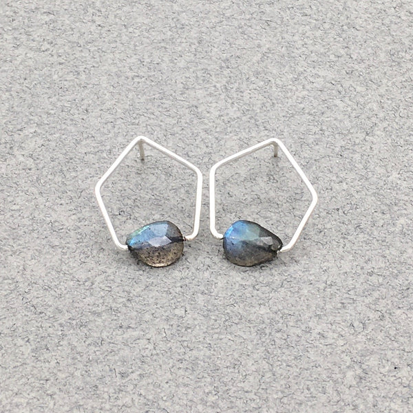 Pentagonal Post Earrings with Sterling Silver and Labradorite