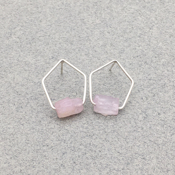 Pentagonal Post Earrings with Sterling Silver and Raw Pink Kunzite