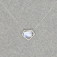 Power Pendant Necklace, Sterling Silver with Rainbow Moonstone