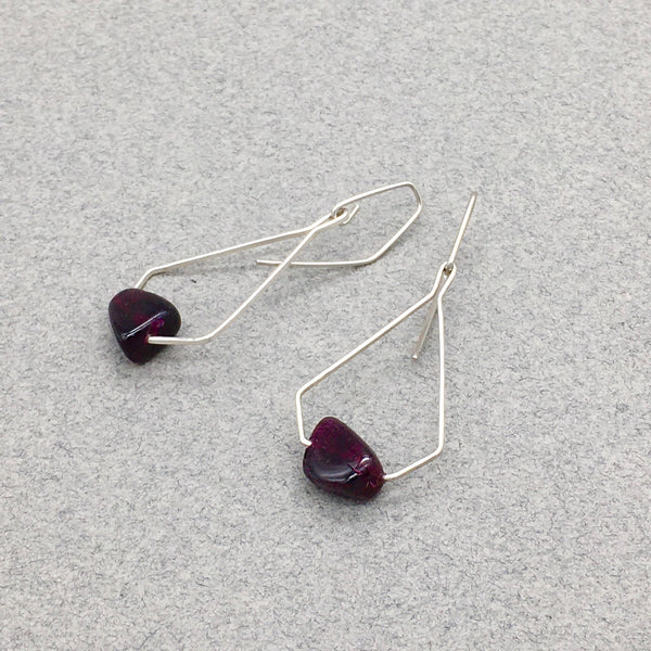 Pentagonal Dangle Earring with Sterling Silver and Genuine Garnet