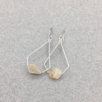 Pentagonal Earrings Handmade with Sterling Silver and Rutilated Quartz