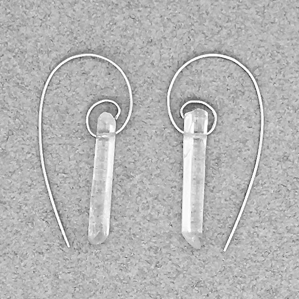 Fibonacci Spiral Earrings with Clear Quartz Points & Sterling Silver