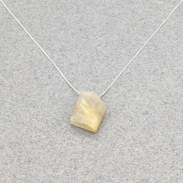 Natural Rutilated Quartz Asymmetrical Pendant Necklace with S.S. Chain