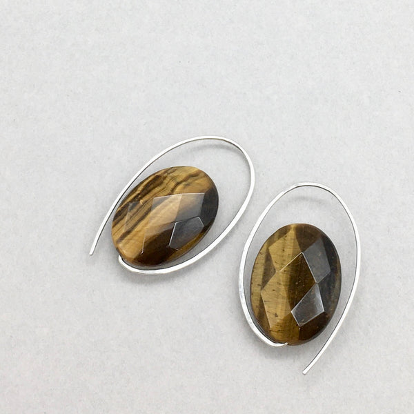 Minimalist Oval Earrings with Natural healing Stone Tiger Eye and Sterling Silver, Handmade