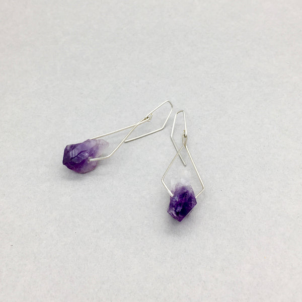 Pentagonal Earrings Handmade with Sterling Silver and Raw Amethyst Crystal Points
