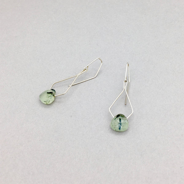 Pentagonal Earrings Handmade with Sterling Silver and Prehnite Stones