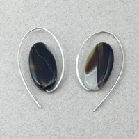 Minimalist Oval Earrings with Sardonyx and Sterling Silver, Handmade