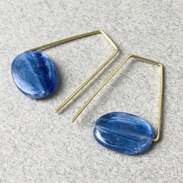 Geometric Earrings with Blue Kyanite and Brass, Handmade