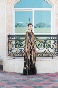 Oversized Black Sequin cape with Gold Sequin Leaves
