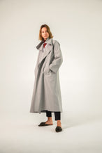 Grey Pinstripe Oversized winter coat with 2 pockets