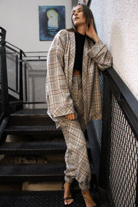 Oversized Wool Check Cardigan