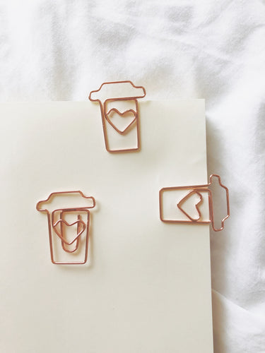 Coffee Cup Rose Gold Paperclip