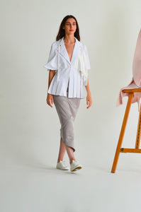 Isla Fitted Linen jacket with half sleeves, asymmetrical panels and silk braid detail