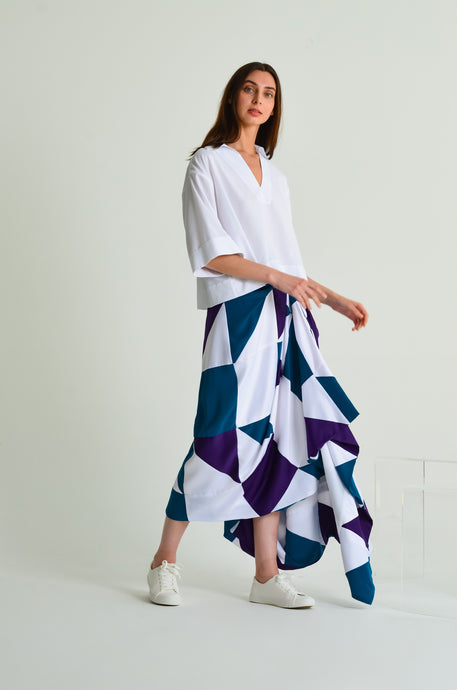 Unique Asymmetrical draped skirt made with sustainable materials