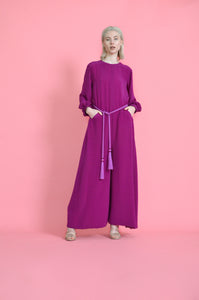 Full Length Cotton Crepe Jumpsuit with a Silk Braided Belt and Two Pockets