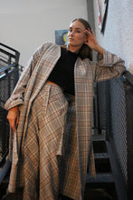Oversized Wool Check Coat With An Open Back