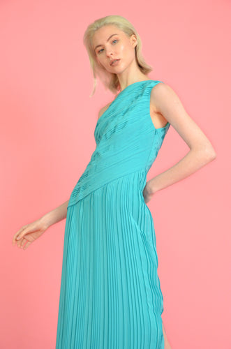 Off-Shoulder, Fitted, Ankle Length Pleated Dress with a Slit