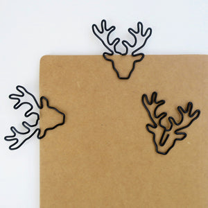 Black Deer-head paperclip stationery, handcrafted.