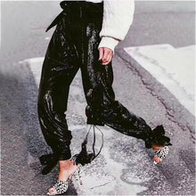 Black Sequin High Waist Jogger Pants, perfect to glam up your #stayhome