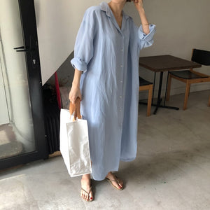 Oversized, Long Sleeve, Long Length Shirt Dress