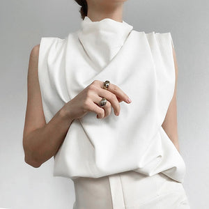 Sleeveless Cowl Neck Pleated Shoulder Cotton Top