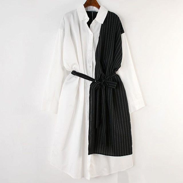 Asymmetrical Shirt Dress with a Pin-Stripe Panel.