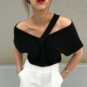 V neck Off Shoulder sling short-sleeved T-shirt