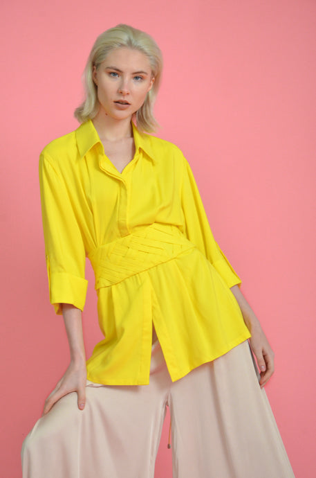 Yellow Soft Linen Shirt with attached Corset