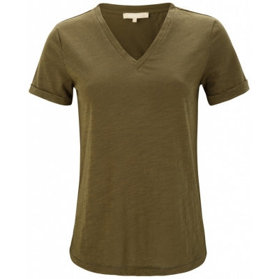 Lily V-neck T-SHIRT fra Soft Rebels, army