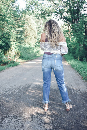 Fork in the Road, High-Waist Fringe Jeans