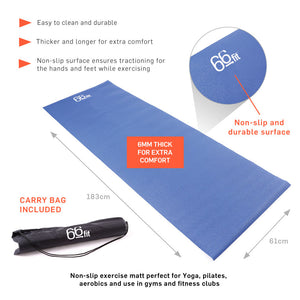 66fit Yoga Mat Plus - 6mm x 183cm x 61cm - Blue