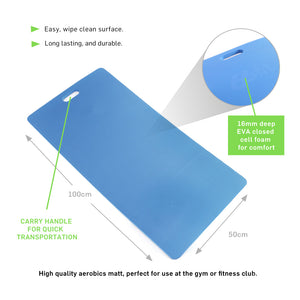 66fit Deluxe Aerobic Mat - Blue - 100cm x 50cm x 16mm