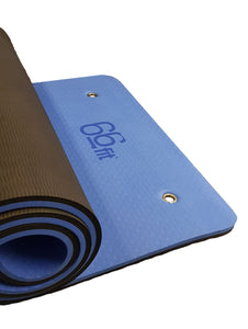 66fit Professional Exercise Mat - 17mm x 61cm x 184cm - Blue/Black