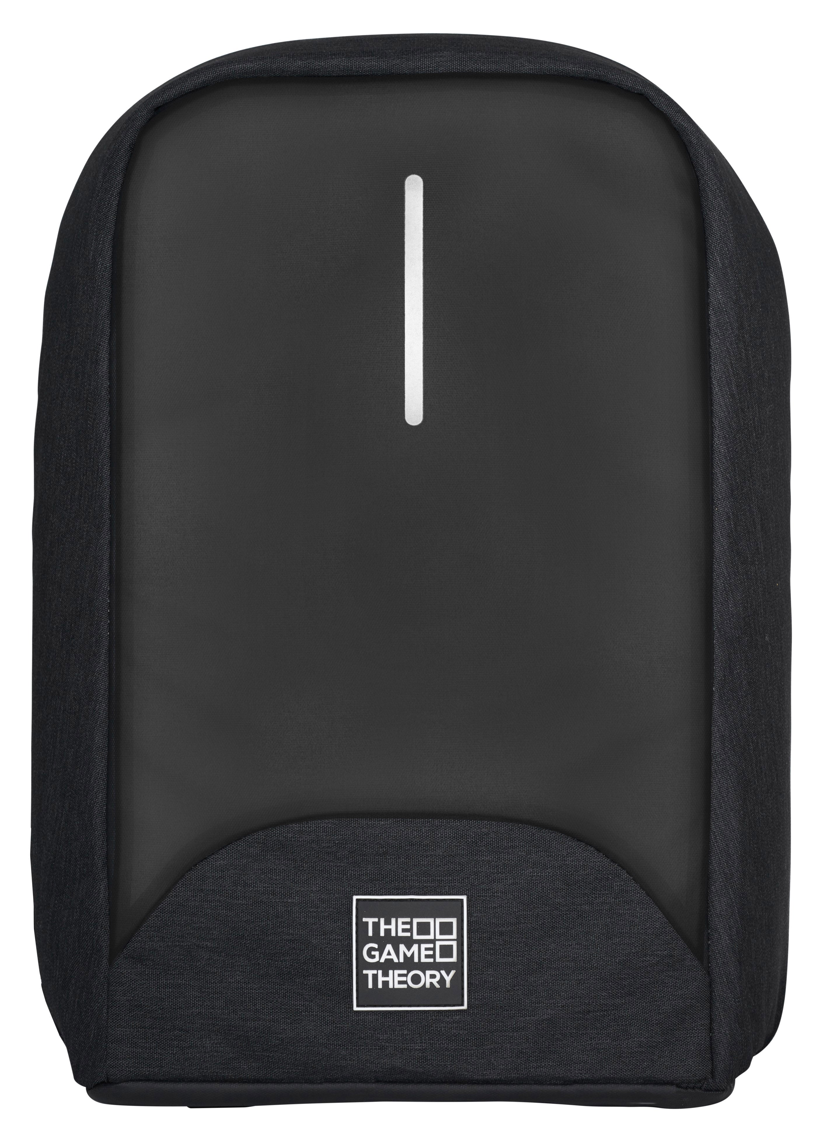The Game Theory front view of backpack. Secure gamging console bookbag